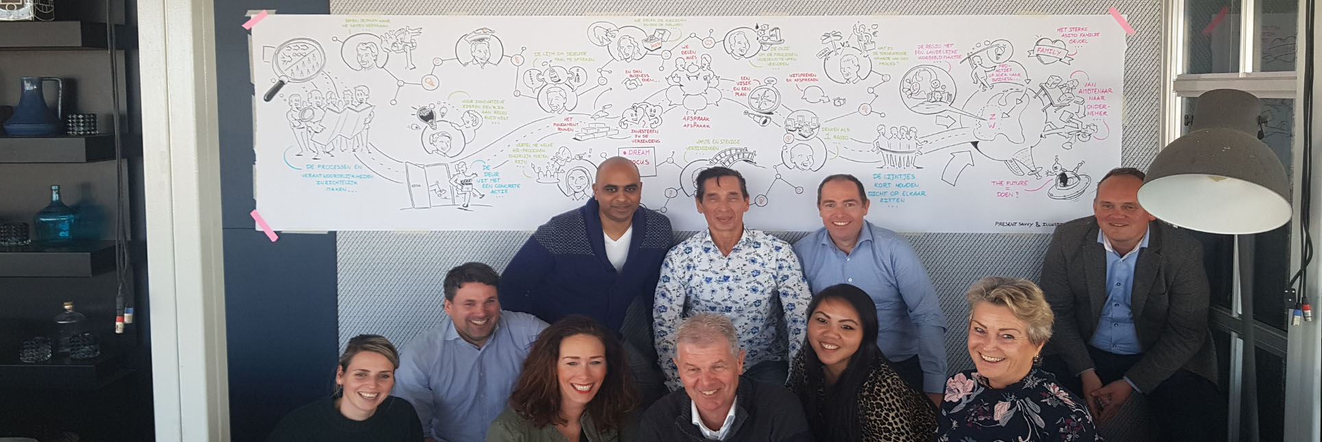 groep collega's voor een strategie tekening